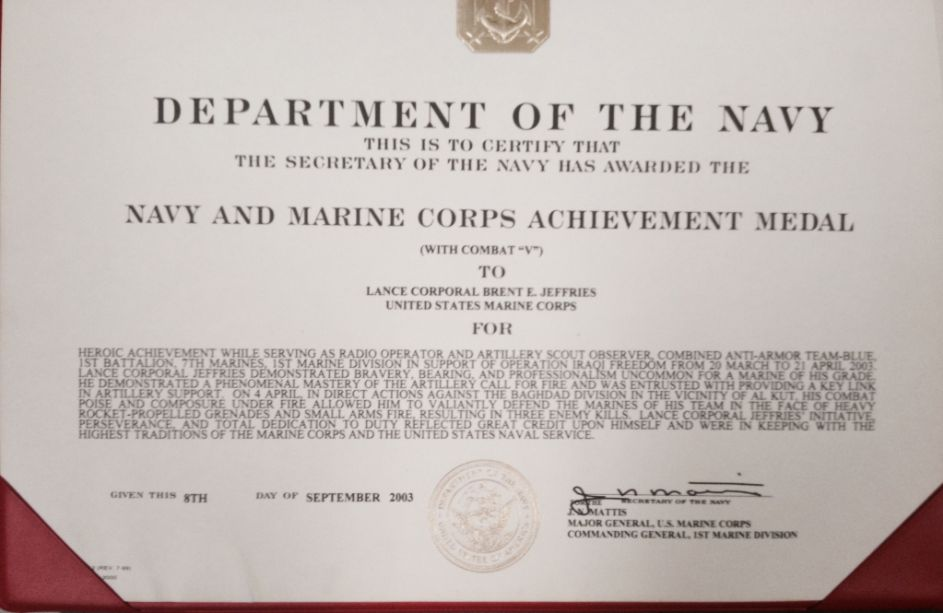 Navy and Marine Corps Achievement Medal with Valor Citations