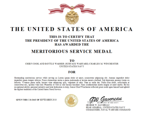 Meritorious service medal for Army good conduct medal certificate template