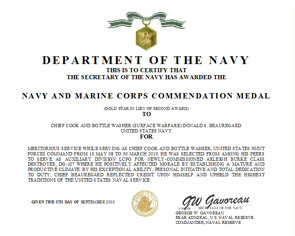 Navy commendation medal for Certificate of commendation usmc template